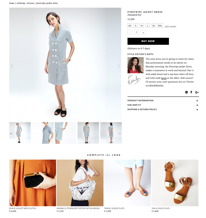 """The Label Life's """"Complete the Look"""" allows shoppers to see ensembles that compliment each product (Source: thelabellife.com)"""