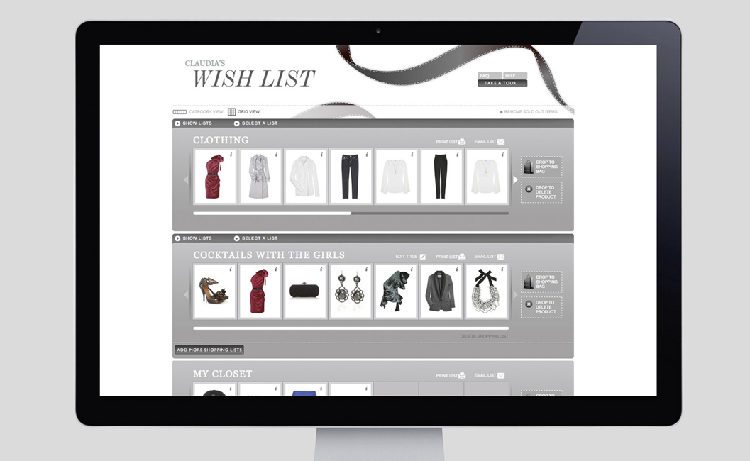 Net a Porter, and its numerous wishlist options