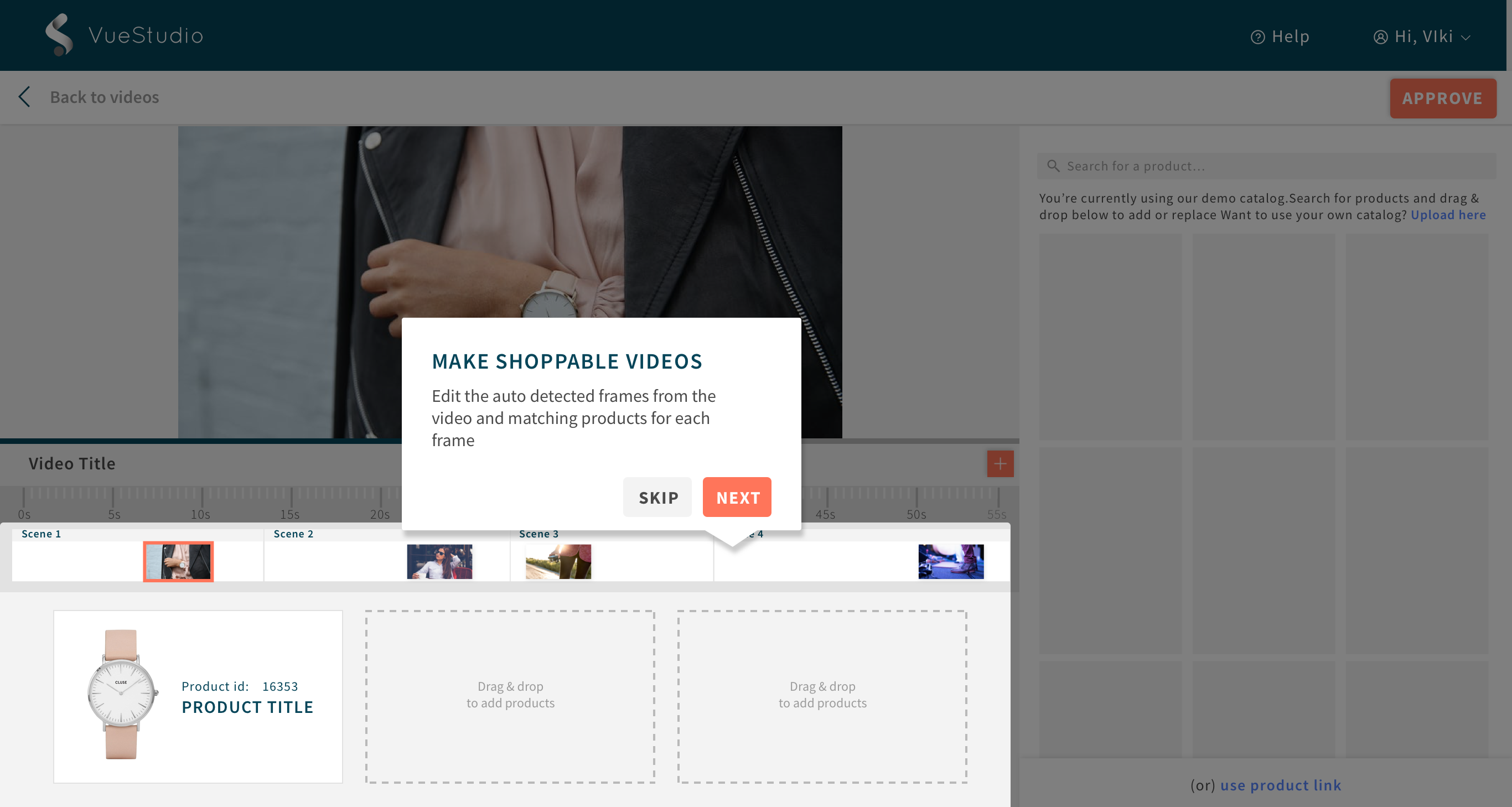 Shoppable video campaigns in VueStudio's video editor
