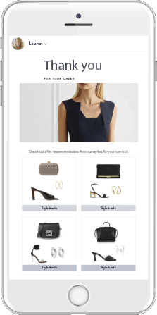 Personalized Recommendations for each shopper post checkout